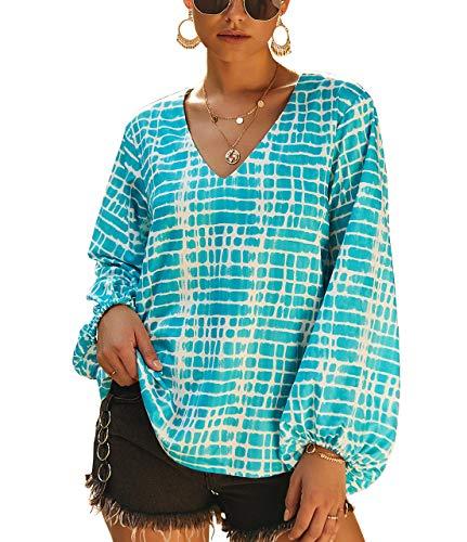 PRETTYGARDEN Women's Casual V Neck Lantern Long Sleeve Printed Retro Loose Pullover Blouse Tops (Blue, Medium)