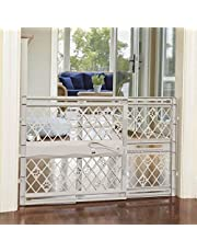 """North States Mypet Paws 40"""" Portable Pet Gate: Expands & Locks In Place with No Tools. Pressure Mount. Fits 26""""- 40"""" Wide (23"""" Tall, Light Gray)"""