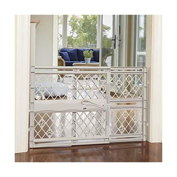 "North States Mypet Paws 40"" Portable Pet Gate: Expands & Locks In Place with No Tools. Pressure Mount. Fits 26""- 40"" Wide (23"" Tall, Light Gray) 1"
