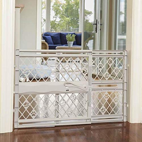 "North States Mypet Paws 40"" Portable Pet Gate: Expands & Locks In Place with No Tools. Pressure Mount. Fits 26""- 40"" Wide (23"" Tall, Light Gray)"