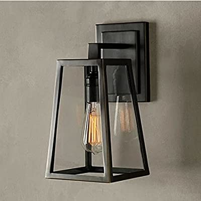 ATC® Creative Glass Box Iron Golden Triangle Rural Outdoor Indoor Balcony Bedroom Bar Restaurant Wall Lamp Sconces