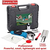 Dog ShearsPro 110V Professional Pet Grooming Heavy Duty Clipper Kit Electric Shearing Clippers 2 Speeds Shaving For Thick Coats Fur Hair for Dogs Horses Equine Pigs Cattle Farm Livestock Pets 2 Blades