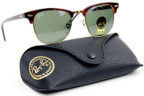 Ray-Ban RB3016 Clubmaster Classic Unisex Sunglasses (Tortoise Frame/Green G-15 Lens W0366, ()