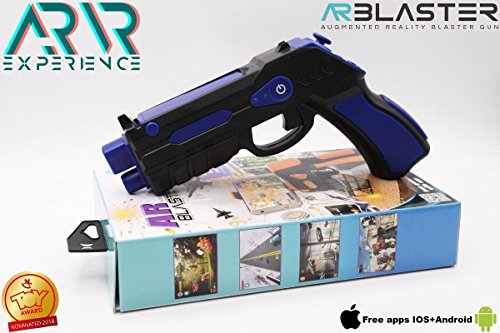 AR BLASTER Augmented Reality 360 VR Portable Gaming Gun: Wireless Bluetooth Controller Toy Pistol for iOS iPhone and Android Smartphone | FREE App 35+ Games Action & Lerning, w/ Joystick (BLUE)