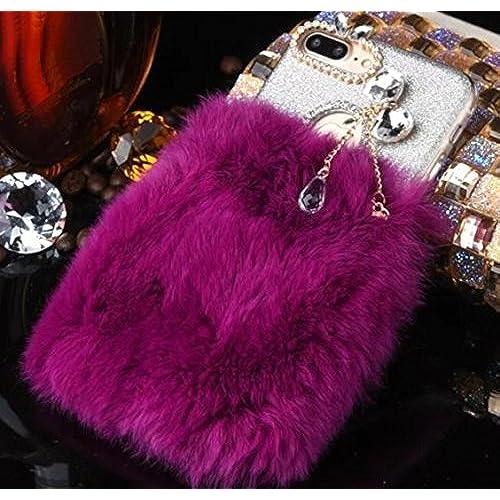 Galaxy S7 Edge Case, Shiny Bowknot Crystal Diamond Camera Hole Pendant, Fluffy Edgeh Wool Fur Rabbit Hair Cover Sales