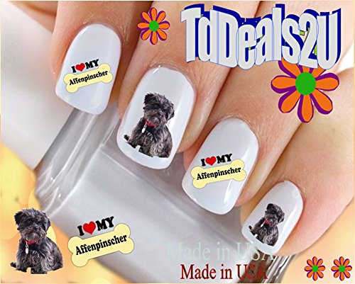 Dog Breed - Affenpinscher I Love Nail Decals - WaterSlide Nail Art Decals - Highest Quality! Made in USA