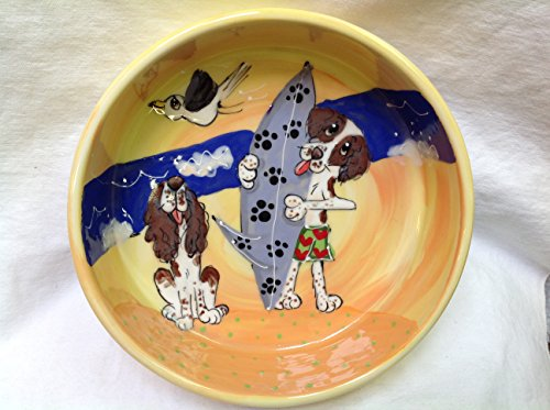 """Springer Spaniel 6"""" Dog Bowl for Food or Water. Personalized at no Charge. Signed by Artist, Debby Carman."""