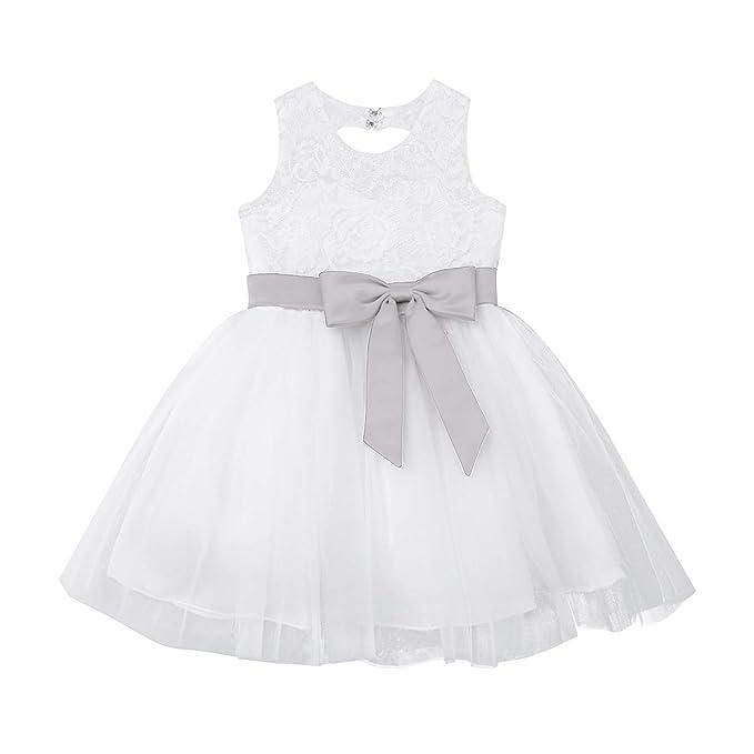 Amazon.com: Chictry - Vestido de novia para niña, con lazo ...