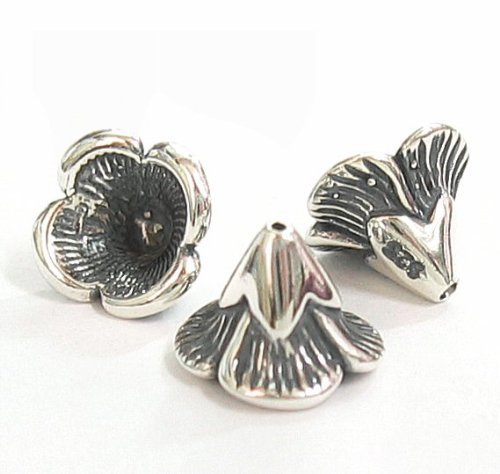2 pcs .925 Sterling Silver Bead Flower Cone Cap 6.5m X 9mm / Findings/Antique