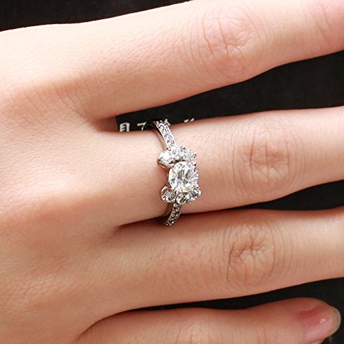 Psiroy Womens Elegant Titanium Steel Cubic Zirconia Diamond Rings Band