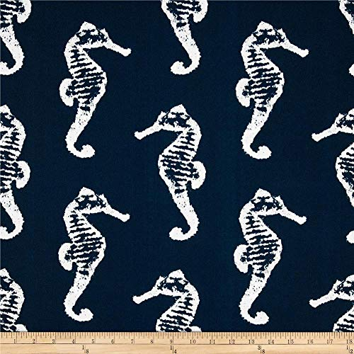 (CELYCASY Outdoor Navy Blue Nautical Fabric Yardage Premier Prints Outdoor Sea Horse Oxford Coastal Decor Fabric for Pillow Covers and More )