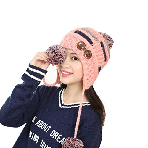 AMA(TM) Women Winter Warm Braided Knit Hat Beanie Ball Cap Beret with Earflap (Pink) ()