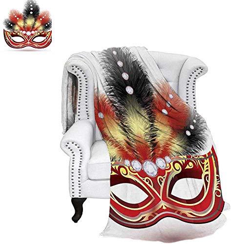 - WilliamsDecor Masquerade Travel Throw Blanket Party Mask with Feathers and Diamond Figures Traditional Festive Design Velvet Plush Throw Blanket 60