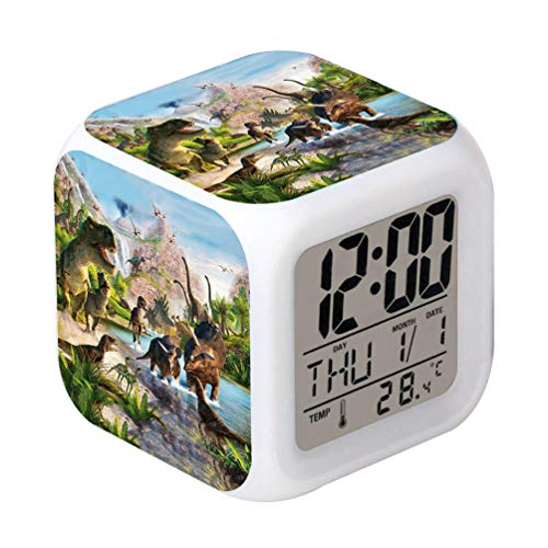 Cointone LED Alarm Clock Dinosaur Jurassic Design Creative Desk Table Clock Glowing Electronic Colorful Digital Clock for Unisex Adults Kids Toy Birthday Present (Alarm Clock Creative)
