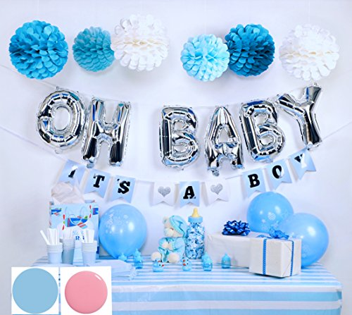 Baby Shower Decorations for Boy, OH BABY letters, Blue easy set up flower pom poms, It's a Boy Banners and blue balloons, Blue White and Silver Baby Shower Decorations, Paper balls, Unique Baby shower