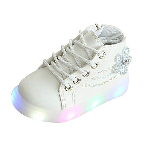 BBestseller Moda Las niñas de pedrería Flores iluminación LED Luminosa Zapatillas Luces Zapatos Running Cortas Botas con Cordones Calzado Invierno: ...