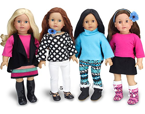 American Doll Winter Set by Sophia's | Black, Blue and Pink Doll Clothes, Mix and Match Doll Outfits of 8+ Pieces | Budget Friendly Line (American Girl Doll Winter Clothes)