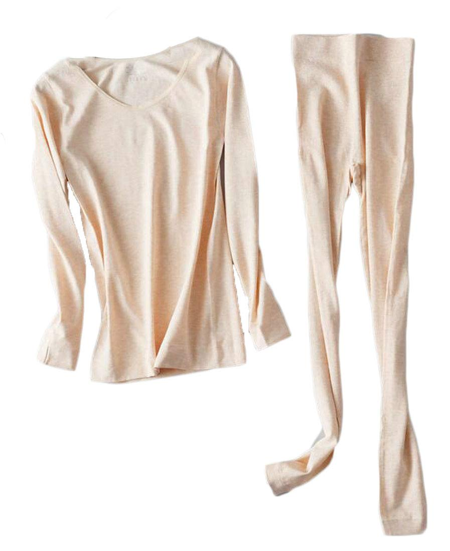 X-Future Women Long Underwear Pants Thin Seamless Thermal Underwear 2-Piece Top with Pants Apricot OS by X-Future