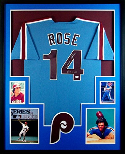 (Pete Rose Philadelphia Phillies Autograph Signed Custom Framed Jersey HIT KING Inscribed JSA Witnessed Certified)