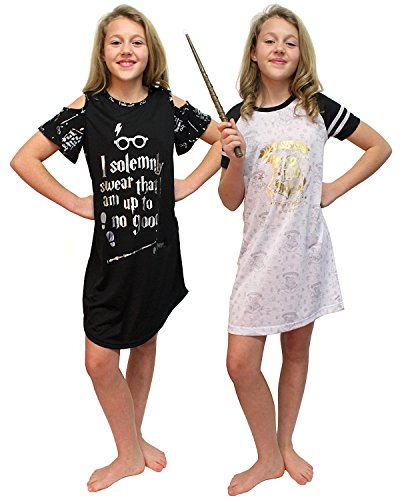 UPC 843437105524, Intimo Big Girls Harry Potter Hogwarts Gold Foil Raglan & I Solemnly Swear Cut Out Nightgown Set of 2 Pajamas (Small, 7)