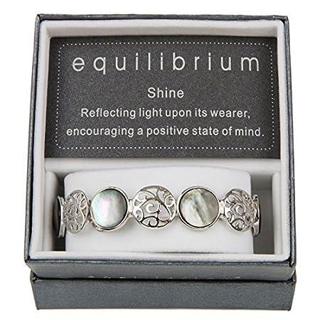 Filigree & Pearl Shell Circles Elasticated Bracelet - EQUILIBRIUM RANGE tQHEhu