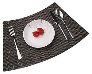 Grey Convetu Placemats For Round Tables Pm08 Dining Mats Set Of 4 Textilene Pvc Vinyl Kitchen Farmhouse Stripe Style Non Slip Heat Resistant Washable Place Mats Kitchen Dining