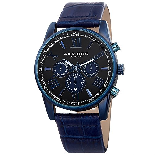 Akribos XXIV Men's Swiss Quartz Multi-Function Sunray Dial and Brown Alligator Embossed Genuine Leather Strap Watch ()