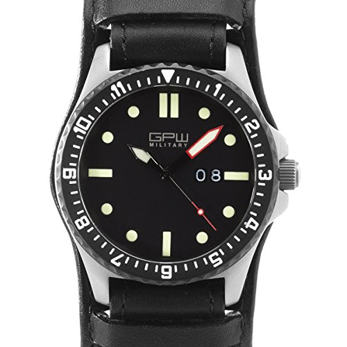 German Military Titanium Watch. GPW Big Date. Sapphire Crystal. Black German BUND Leatherstrap. 200M - Titanium Military Grade