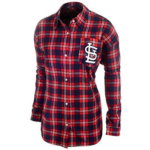 St. Louis Cardinals Womens Wordmark Basic Flannel Shirt Medium (Cardinals Louis Gear)