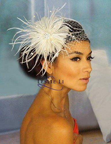 Leslie Li Women's Crystal Petite Birdcage Veil & Pearl Fascinator One Size Ivory 27-F31 ()