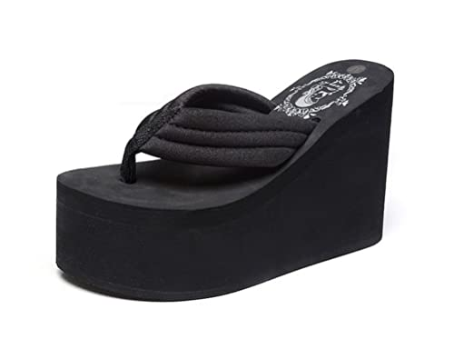 17d4412bd60c Always Pretty Women s Cheap Flip Flops Wedge Sandals Platform Thongs Black-11cm  US 4.5
