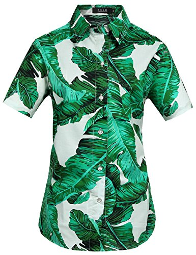 SSLR Womens Banana Leaves Casual Tropical Aloha Hawaiian Shirt