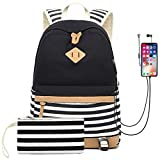Waterproof Canvas Backpack for College Girls Women USB Charging Port Fits 14' Laptop Backpack Daypack School Bookbag (Black)