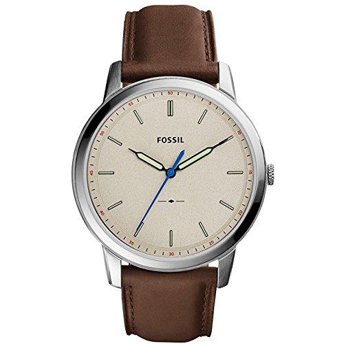 Fossil Men's FS5306 The Minimalist Three-Hand Brown Leather Watch (Hand Watch Three)