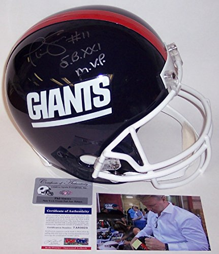 Phil Simms Autographed Hand Signed NY New York Giants Throwback Full Size Football Helmet - with Super Bowl XXI MVP inscription - PSA/DNA ()
