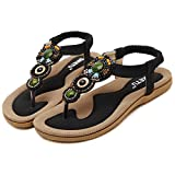 Summmer Bohemia Fashionable Sandals National Flipflop Beads Heel Height 0.78in
