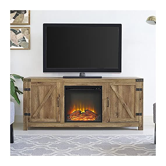 Home Accent Furnishings Tucker 58 Inch Barn Door Fireplace Tv Stand in Barnwood - Rustic with Barn Door design High-grade MDF and laminate construction Includes electric fireplace insert, no electrician required, simple plug-in unit - tv-stands, living-room-furniture, living-room - 5125bNKwwUL. SS570  -