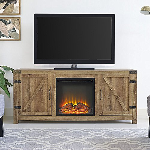 New 58 Inch Wide Barn Door Fireplace Tv Stand- Barnwood Color ()