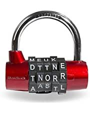 Wordlock PL-002-RD 5-Dial Combination Padlock,Red