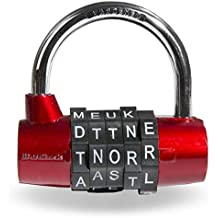 Wordlock PL-002-RD 5-Dial Padlock, Red