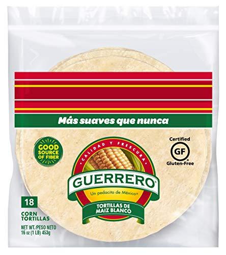 Guerrero White Corn Tortillas | Gluten Free, Trans Fat Free | Small Soft Taco Size | 18 Count