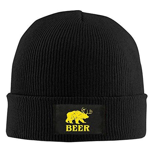 (Beer Funny Deer Bear Animal Gift Man's Skull Cap Cuffed Beanie Hat Screen-Print Memorial Fleece Hat Winter Hats)