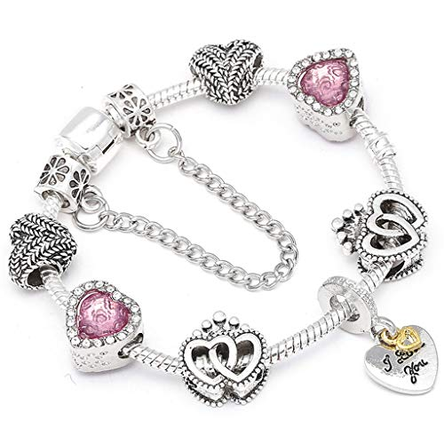 Gift for Girlfriend Metallic Color Crystal Beads Charm Bracelet For ladies With Boy; Girl Couple Fine Bracelets Lover Valentine's Gift - Slide Engravable Oval