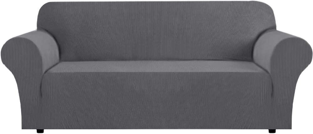 Sofa Cover Lounge Cover for 3 Seater Stretch Sofa Covers 1 Piece Furniture Protector Couch Cover Feature Rich Textured High Spandex Small Checks Jacquard Fabric (Sofa: Charcoal Gray)