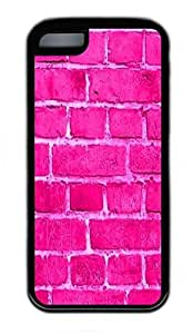 iPhone 5C Case, Personalized Protective Rubber Soft TPU Black Edge Case for iphone 5C - Pink Wall Cover