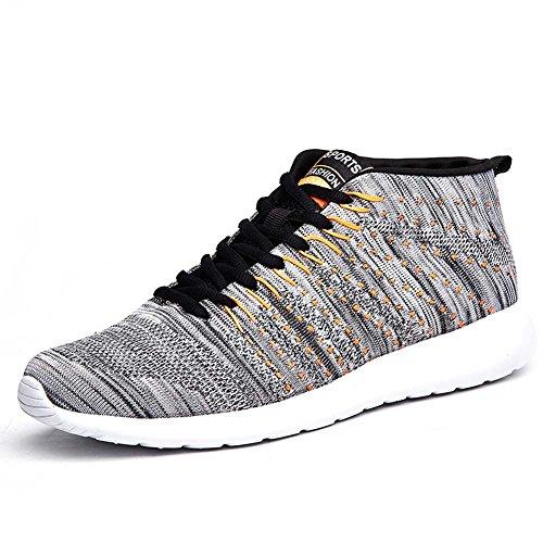 FLARUT Männer Frauen Unisex Casual Sneakers Atmungsaktive High Top Outdoor Sports Laufschuhe Grau
