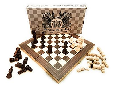 IFG Handmade Wooden Chess Set - Travel Size | Portable Folding Game Board | Felted Interior Storage with Piece Holders