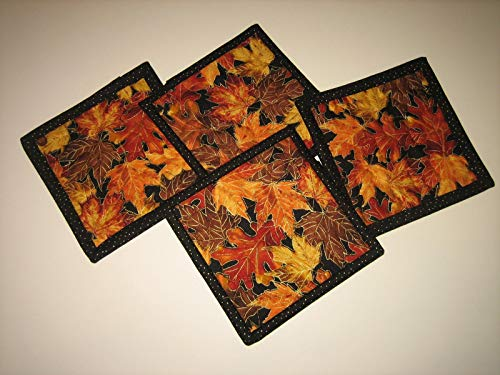 (Fabric Coasters for Drinks, Fall Autumn Leaves, Drink Mats, Hot Cold 5x5 in.)