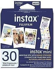 Fujifilm Instax Mini Film, 3 Pack with Stickers (30 exposures) White 600022104