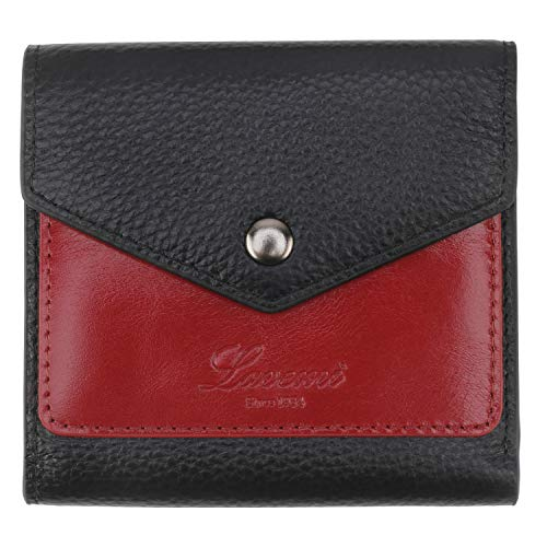Lavemi RFID Blocking Small Compact Mini Bifold Credit Card Holder Leather Pocket Wallets for Women with Quick access ID Slot(1-Envelope Black/Dark Red)